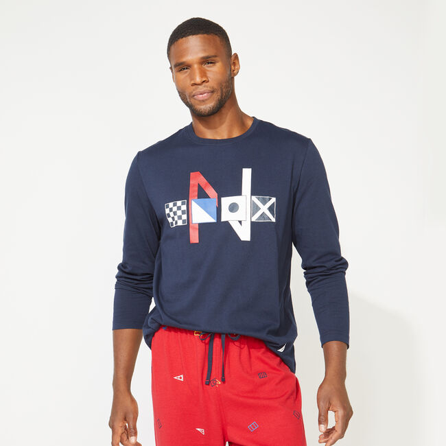 SLIM FIT GRAPHIC LONG SLEEVE AND KNIT PANTS PAJAMA SET,Navy,large