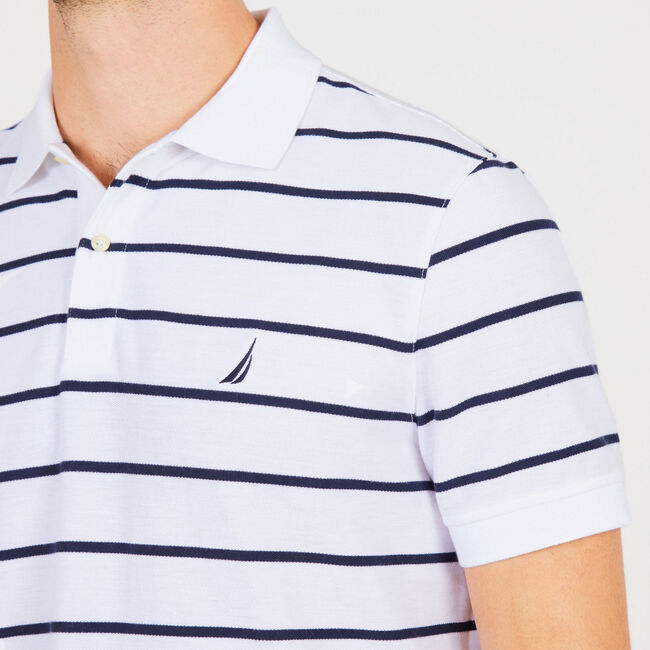 Classic Fit Striped Mesh Polo,Bright White,large