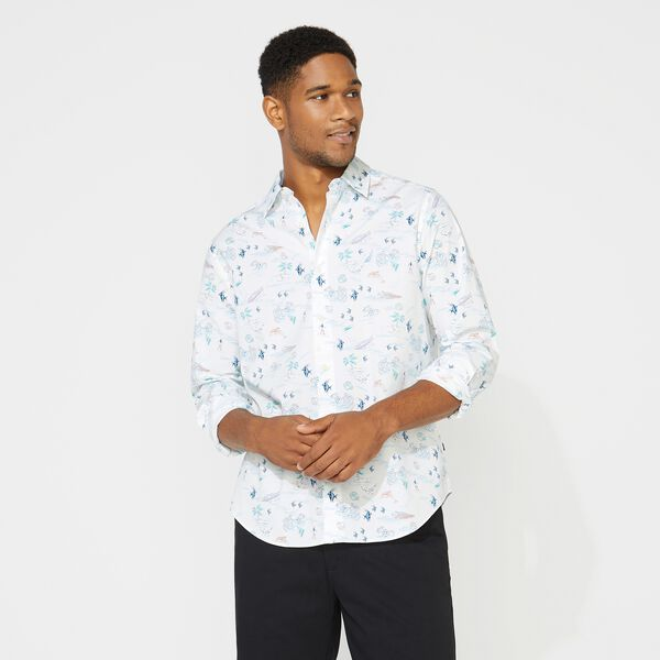 BEACH PRINT SHIRT - Bright White