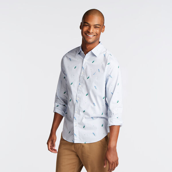 CLASSIC FIT STRETCH OXFORD IN BOAT PRINT - Riviera Blue