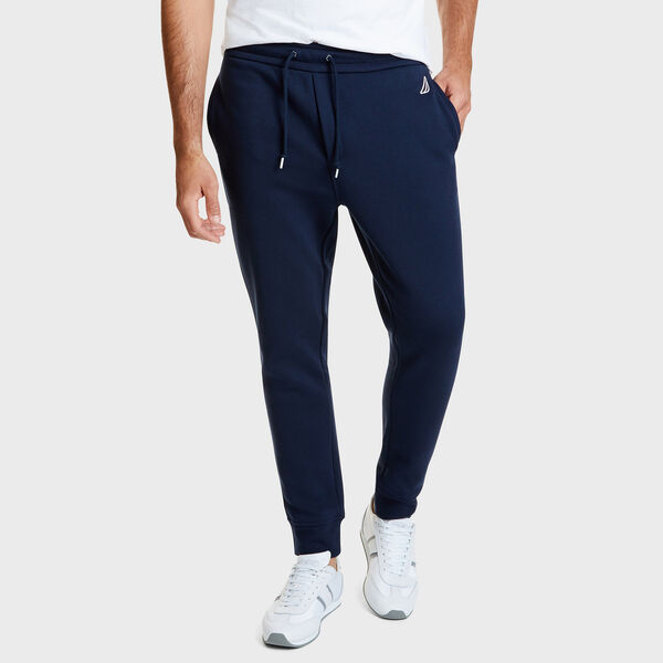 Drawstring Fleece Logo Joggers - Navy