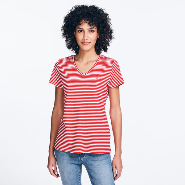 CLASSIC STRIPE V-NECK T-SHIRT - Tomales Red