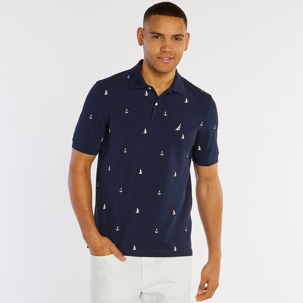 Big & Tall Anchor Print Classic Fit Deck Polo - Pure Dark Pacific Wash