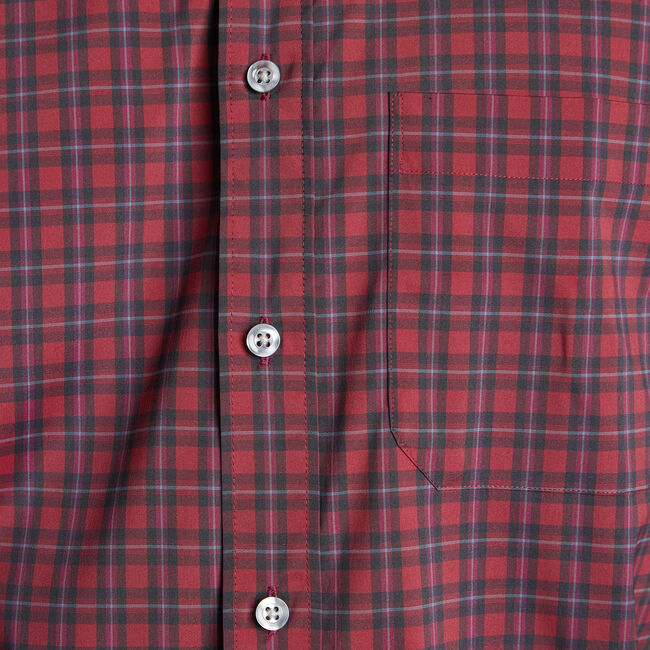 Classic Fit WRINKLE RESISTANT Shirt in Plaid,Sailor Red,large