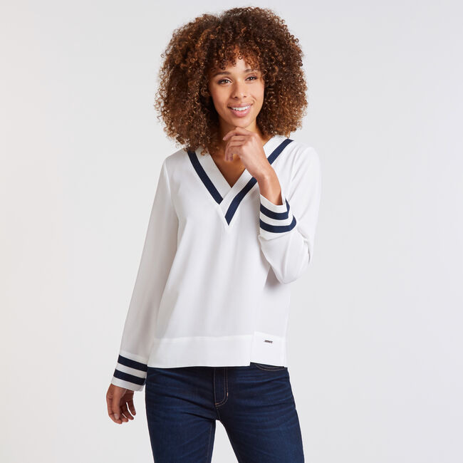 Long Sleeve V-Neck Tipped Woven Top,Marshmallow,large