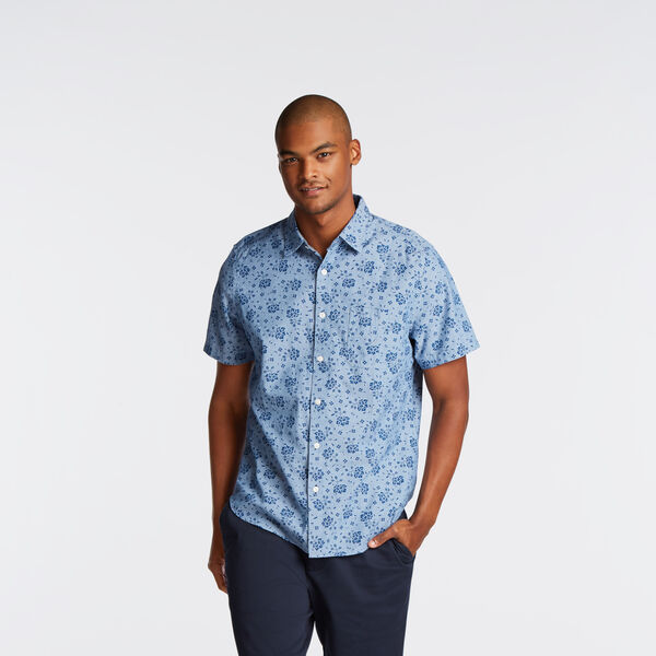 CLASSIC FIT SHORT SLEEVE CHAMBRAY SHIRT IN FLORAL - Riviera Blue