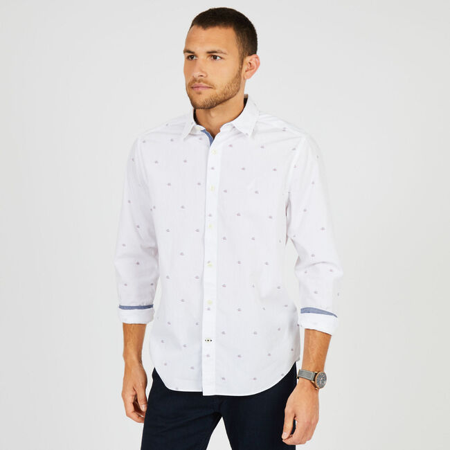 Sailboat Motif Classic Fit Button Down,Bright White,large