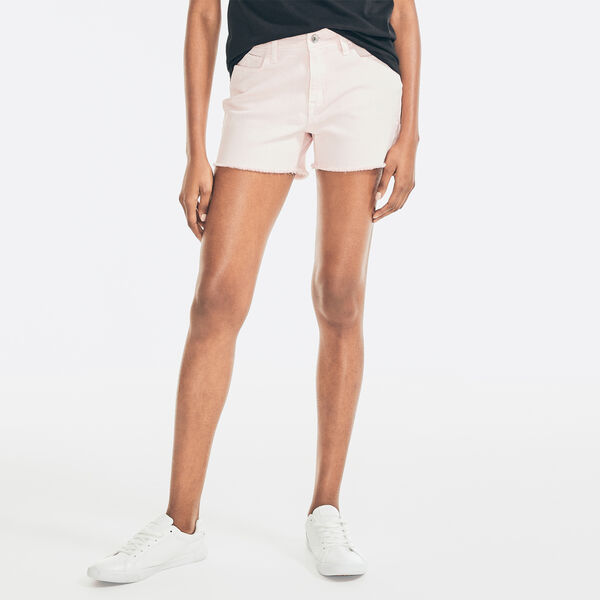 """3.5"""" NAUTICA JEANS CO. MID-RISE FRAYED SHORT - Flare Red"""