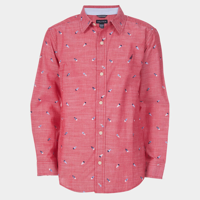TODDLER BOYS' ALVIN CHAMBRAY PRINTED WOVEN SHIRT (2T-4T),Melonberry,large