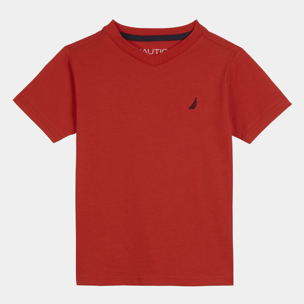BOYS' J-CLASS LOGO V-NECK T-SHIRT (8-20) - Firey Red