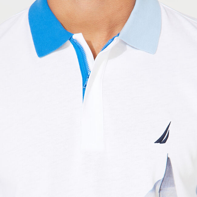 CLASSIC FIT NAUTICAL PRINT POLO,Bright White,large