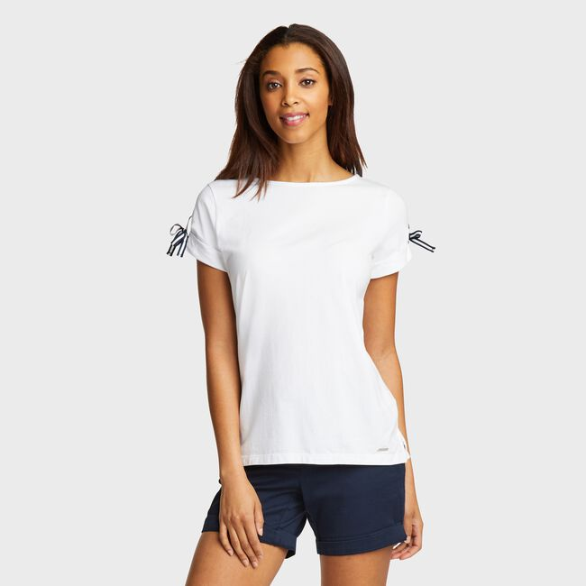 Grommet Detail Knit Tee,Bright White,large