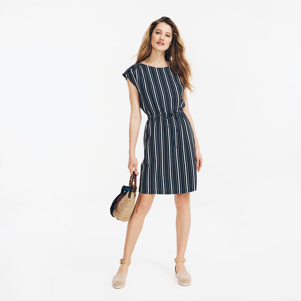 STRIPED OPEN BACK DRESS - Stellar Blue Heather