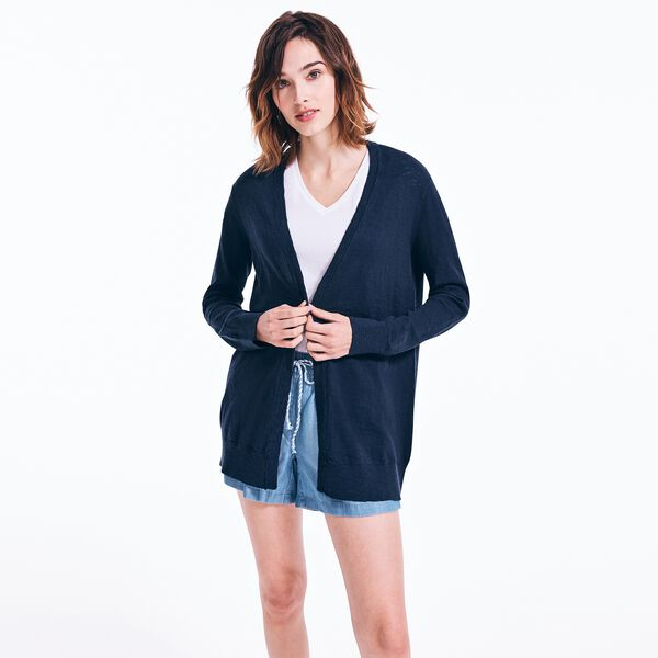 V-NECK OPEN FRONT CARDIGAN - Stellar Blue Heather