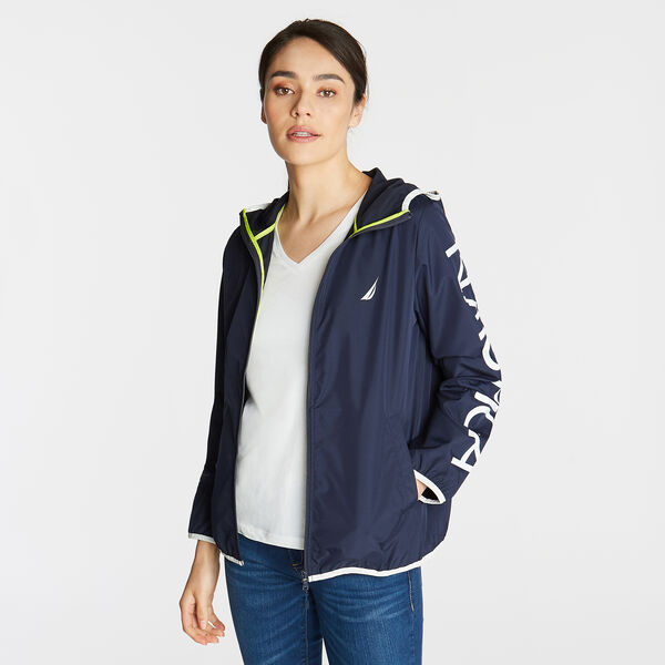 Packable Hooded Windbreaker - Deep Sea