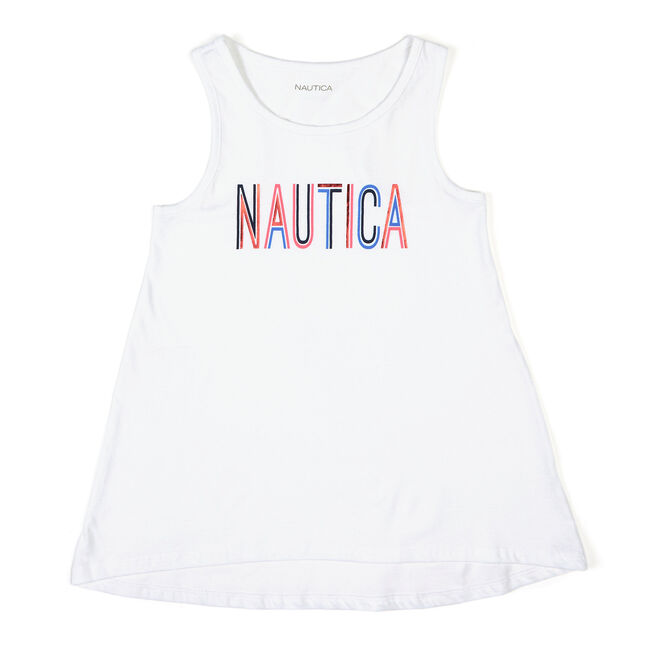 Little Girls' Signature High-Low Tank (4-6X),White,large