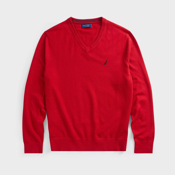 BIG & TALL NAVTECH J-CLASS V-NECK SWEATER - Nautica Red
