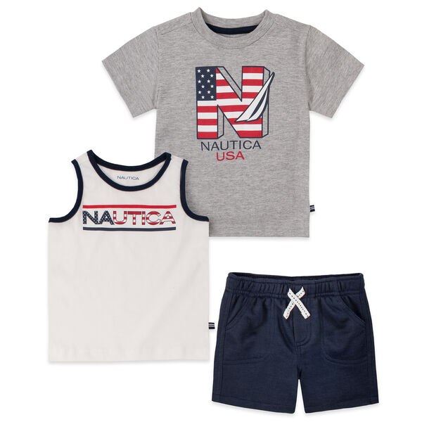 TODDLER BOYS' FLAG GRAPHIC T-SHIRT AND TANK 3PC SHORT SET (2T-4T) - Antique White Wash