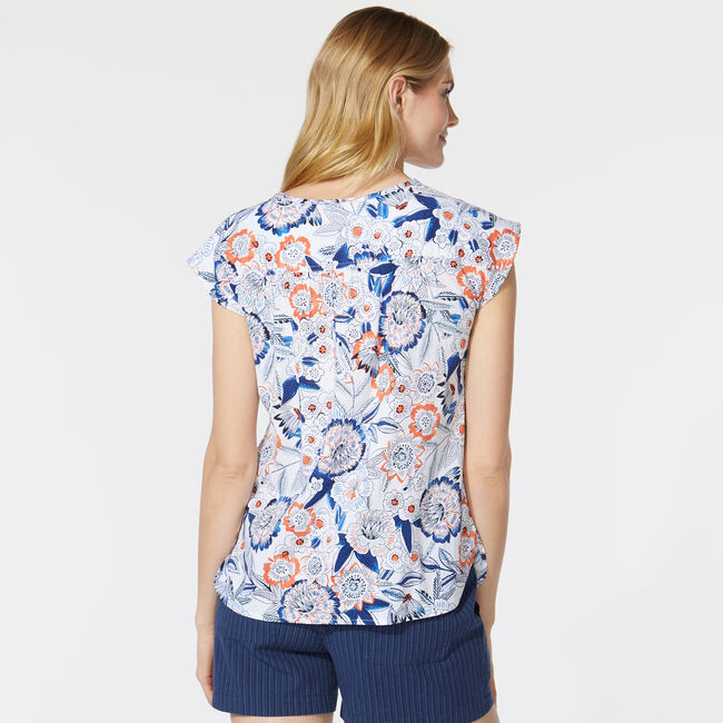 FLORAL PRINT BUTTON FRONT SHIRT,Bright White,large