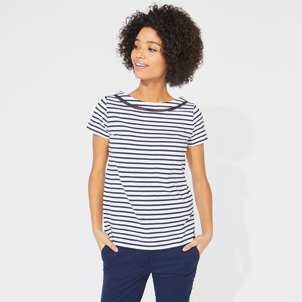 CROCHET-TRIMMED STRIPED TOP - Stellar Blue Heather