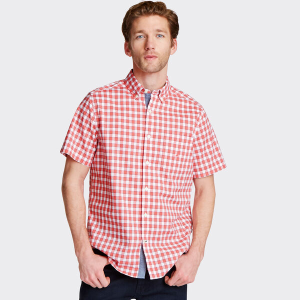 Big & Tall Short Sleeve Classic Fit Stretch Poplin Shirt - Spiced Coral