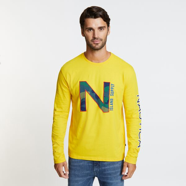 Long Sleeve Crewneck Camo Logo T-Shirt - Shoreline Yellow