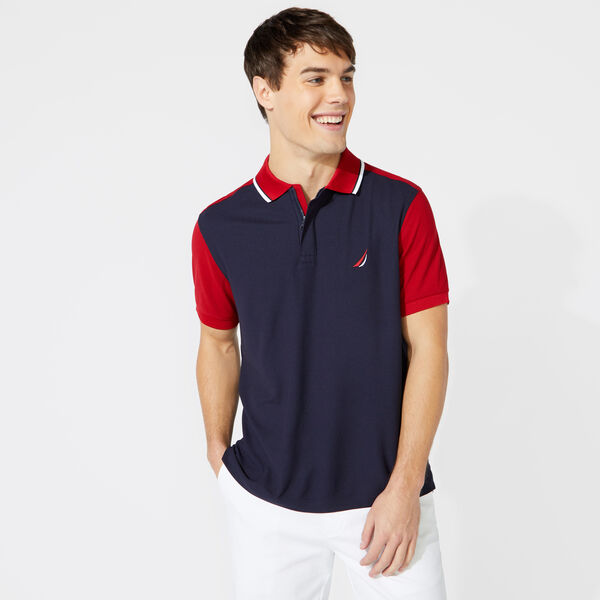 CLASSIC FIT COLORBLOCK TIPPED POLO - Navy
