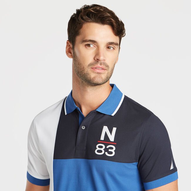 CLASSIC FIT NAVTECH PIECED N-83 PERFORMANCE POLO,Windsurf Blue,large