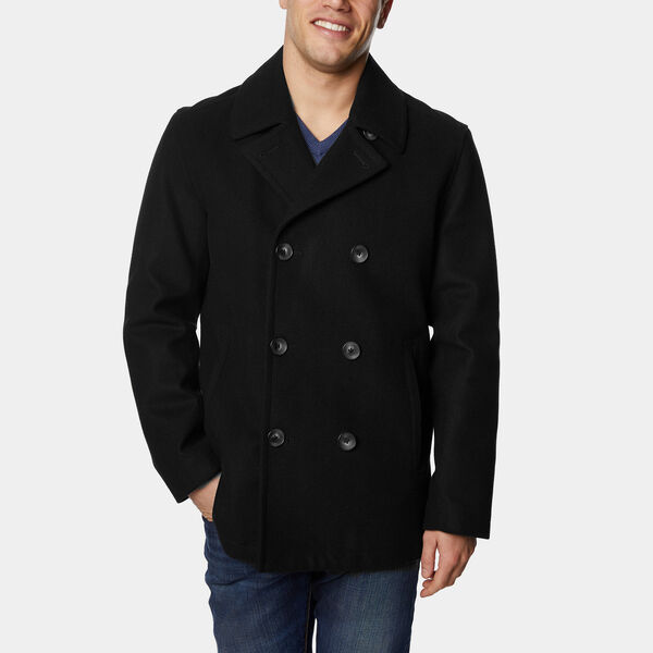 Wool-Blend Double-Breasted Peacoat - True Black