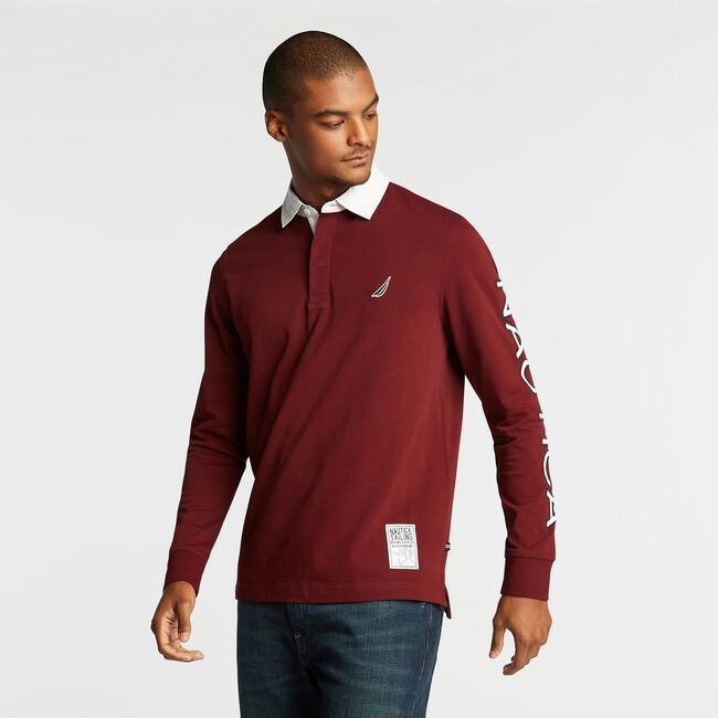 LONG SLEEVE ARM LOGO RUGBY,Royal Burgundy,large