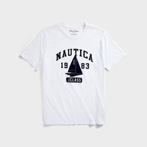SUSTAINABLY CRAFTED SAILBOAT GRAPHIC T-SHIRT - Bright White
