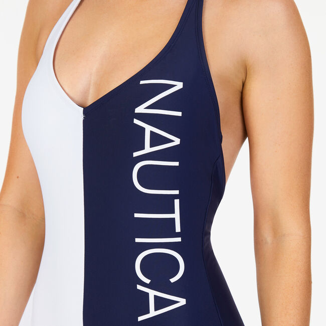Colorblock Logo One-Piece Swimsuit,Deep Sea,large
