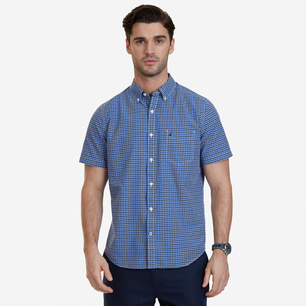 Big & Tall Bright Plaid Short Sleeve Button Down - Bright Cobalt