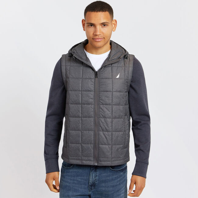 Quilted Jacket With Detachable Sleeves,Charcoal Heather,large