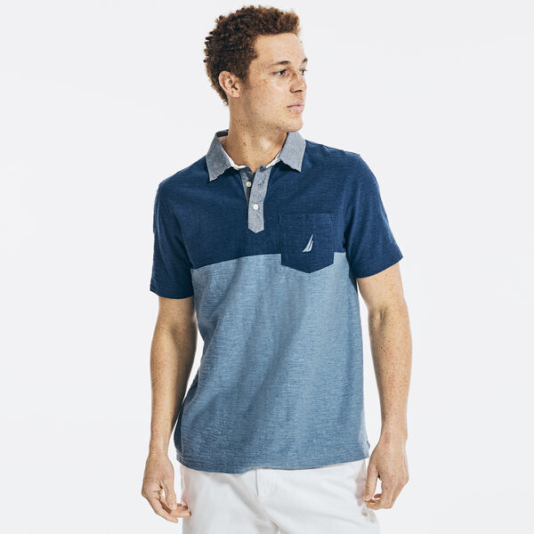 CLASSIC FIT COLORBLOCK CHAMBRAY COLLAR POLO - Sapphire/Pitch Yellow