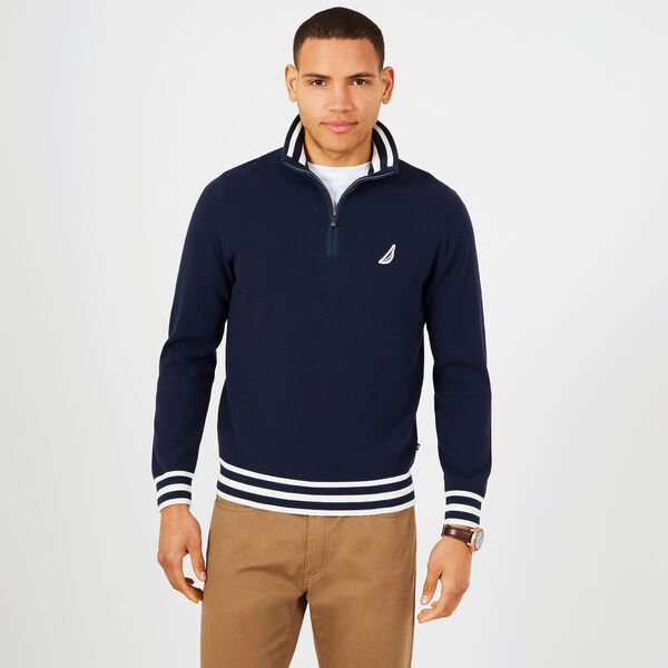 Contrast Stripe Quarter-Zip Sweater - Navy