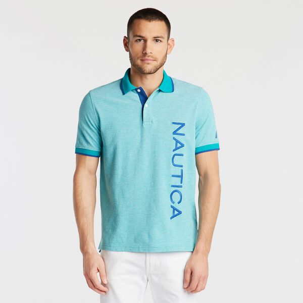 CLASSIC FIT LOGO OXFORD POLO - Gulf Coast Teal
