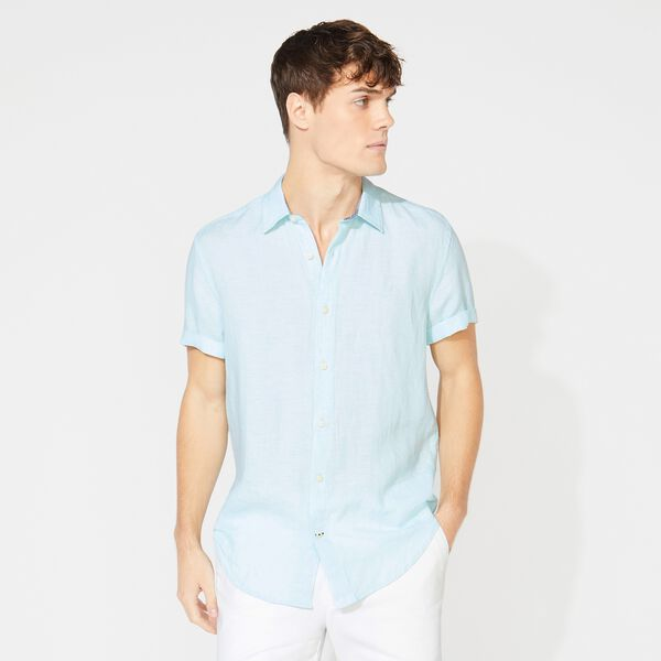 CLASSIC FIT SHORT SLEEVE LINEN SHIRT - Aquadream