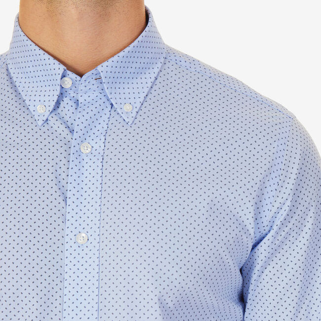 Micro Print Classic Fit Button Down,Turquoise,large