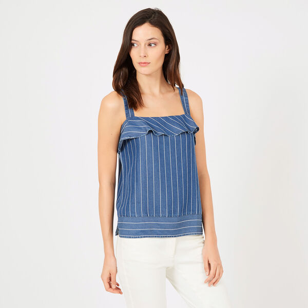 Sleeveless Yarn Dyed Stripe Ruffle Top - Big Blue Wave