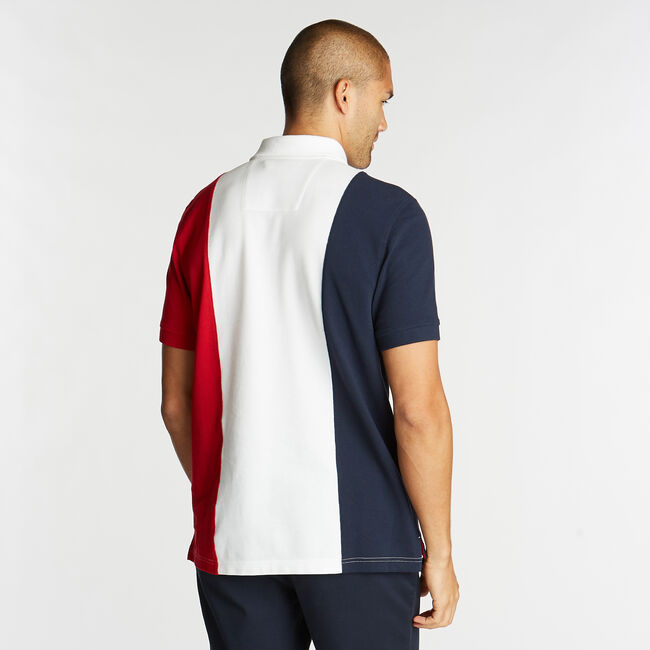 CLASSIC FIT POLO IN PIECED COLORBLOCK,Bright White,large