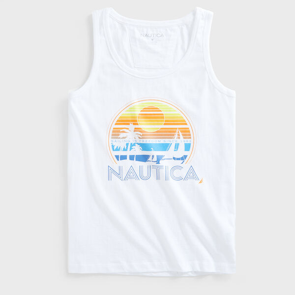 PALM TREE GRAPHIC TANK TOP - Bright White