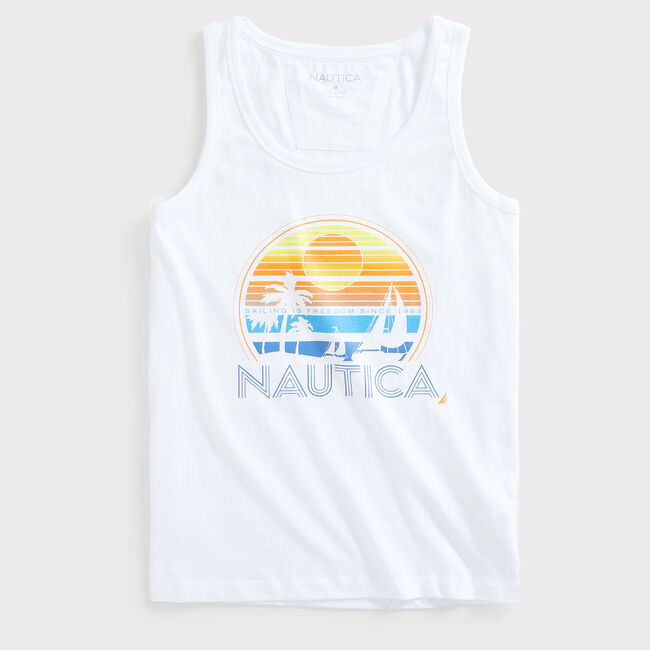 PALM TREE GRAPHIC TANK TOP,Bright White,large