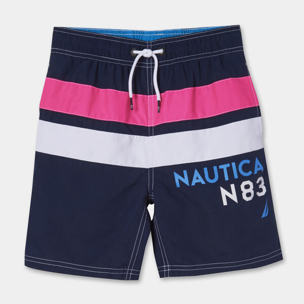 BOYS' MARLEY STRIPE LOGO SWIM TRUNKS (8-20) - J Navy