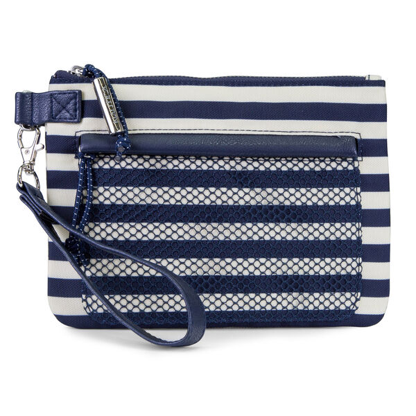 Shore Thing Flat Wristlet with Mesh Front Pocket - Navy