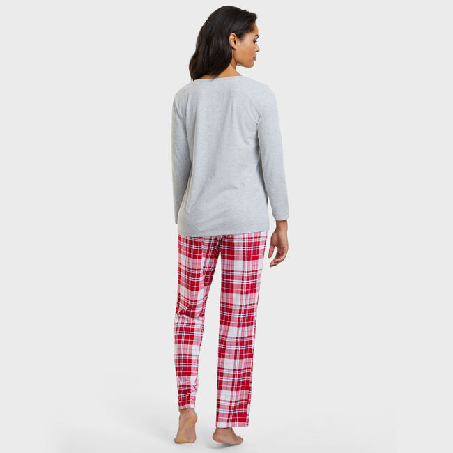 Polar Plaid Pajama Set,Lure Red,large