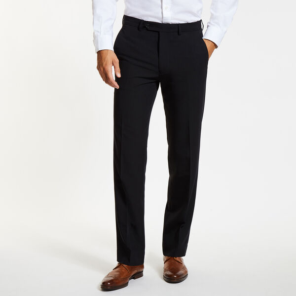 Flat Front Bi-Stretch Dress Pants - Black