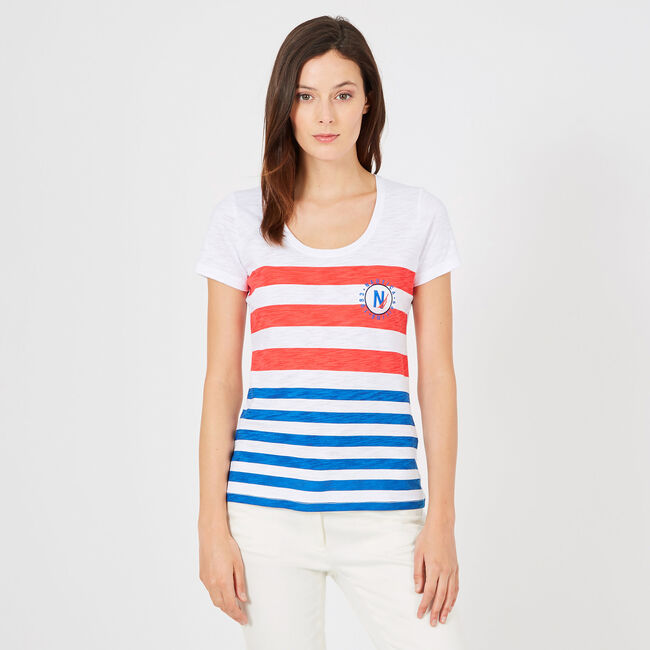 Reverse Stripe Scoop-Neck T-Shirt,Bright White,large