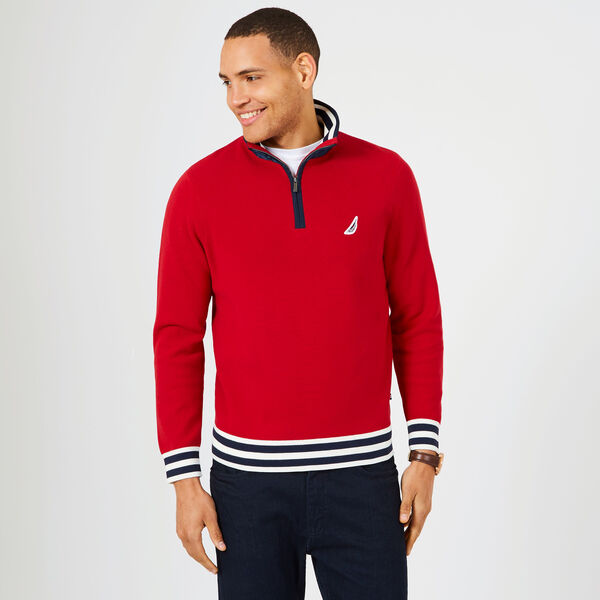 Contrast Stripe Quarter-Zip Sweater - Nautica Red