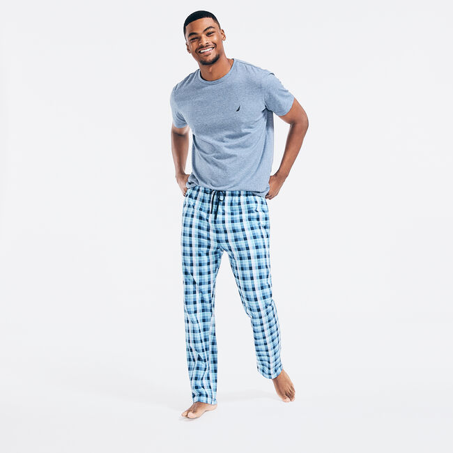 PLAID PAJAMA SET,Anchor Blue Heather,large